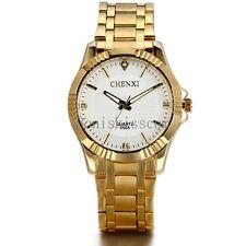 Gold Tone Mens Luxury Sport Case Quartz Stainless Steel Analog Wrist Watch