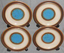 Set (4) Denby BLUE POTTERS WHEEL PATTERN Salad Plates ENGLAND