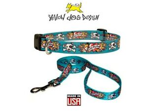 Yellow Dog Design Collar or Leash Blue Tattoo Luv My Dog Flame XS S M L Made USA