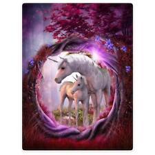 Fleece Blanket Throw for Sofa Bed Unicorn Horse Magical Animal Rose Red