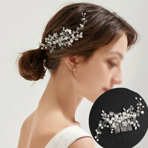 Flower Wedding Bridal Hair Accessories Comb Clips Piece Crystal Diamante Pearl