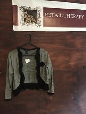 NWT Coco Capers Short Cardigan Black And White L