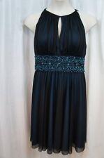 Jessica Howard Dress Sz 14 Black Teal Embellished Evening Cocktail Dinner Dress