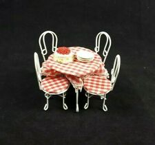 Dolls House Miniature Garden Furniture White Plaid Iron Patio Set Table Chairs