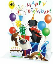 Musical Happy Birthday Pop-Up Card | Dogs Puppies | Mutt Party | Keepsake