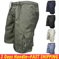 Men's Elastic Waist Cargo Pockets Pants Shorts Casual Work Wear Short Trousers