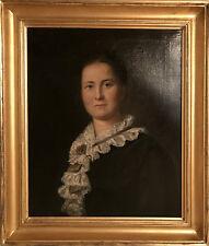 Portrait de femme. Huile sur toile encadrée signée Joliveau. XIXe