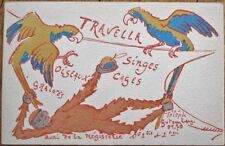 Monkey & Parrot / Pet Store / Cages 1910 French Advertising Postcard, 'Travella'