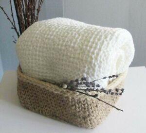 Waffle bath towel linen and cotton blend, thick bath sheet for spa sauna