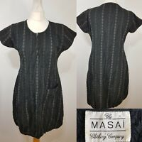 Masai Clothing Ladies Black Tunic Dress Striped Crinkle Size 10 Lightweight