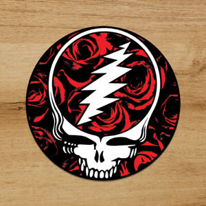 Grateful Dead Steal Your Face Red Roses Premium Sticker Decal 3'' Jerry Garcia