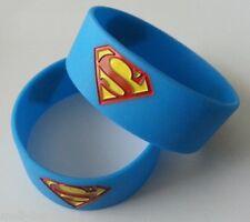 2x Silicone Ladies,Men, Unisex Super Man Band Bracelet- Bangle- Rubber Wristband