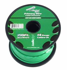 Audiopipe 100 Feet 14 Gauge Green Primary Remote Wire Car Power Cable Automotive