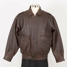 Men's CHARLES KLEIN Soft Thick Leather Jacket Size L Large Brown