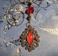 Silver & Red Crystal~Ceiling Fan Pull~Hook on Chain/Lamps/Auto Mirror*~