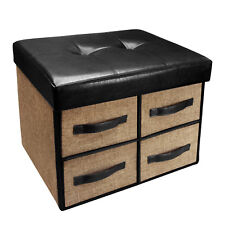 Folding Storage Bench Collapsible Foot Rest Stool with 4 Drawer