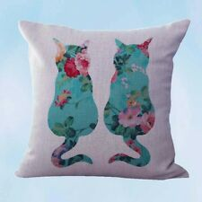 US Seller- throw pillows covers shabby chic retro love cats couple cushion cover