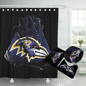 Baltimore Ravens Bathroom Rugs Set 4PCS Shower Curtain Non-Slip Toilet Lid Cover
