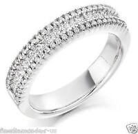 0.75carat Round & Princess Cut Diamonds Half Eternity Wedding Ring in 9K Gold