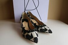 Paul Andrew Womens Block Heels Size 36 Black And White Pyramid Crepe Pointed