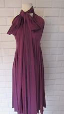 NWOT Two Birds Bridesmaid Short Strght Convertible Wrap Dress Deep Purple Sz A