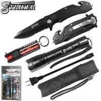 Black Striker Knife Stun Gun Pepper Spray Self Defense Kit Men Women