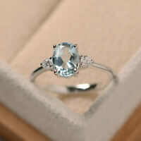 1.70 Ct Oval Cut Aquamarine 14K White Gold Real Diamond Wedding Ring Size R S T