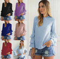 Hot Fashion Women's Loose Long Sleeve Casual Tops Blouse Loose Chiffon T-Shirt