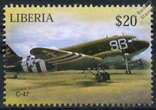 USAAF DOUGLAS C-47 Skytrain / Dakota D-Day Livery Aircraft Stamp (Liberia)
