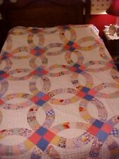 1960s QUILT,  DOUBLE WEDDING RINGS, FEEDSACK PRINTS