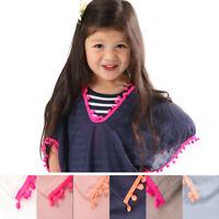 UK Kids Baby Girls Dress PomPom Beach Dresses Sundress Swimwear Cover Up Clothes