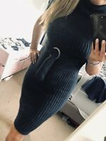 Hugo Boss Virgin Wool Sweater Dress Belted Heather Blue Thick Elegant Midi $595