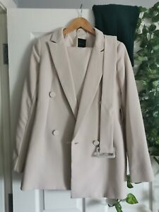 Cream Suit Jacket Trousers Coordinated Matching set green Formal Office new look