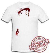 Halloween Scary Horror T-shirt Wound Bleeding Bullet Gunshot Cut Fake Blood Tops White Mpt1155 L
