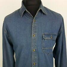 Pierre Cardin Mens Denim Shirt Western L LARGE Long Sleeve Mid Wash Blue Cotton