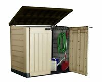 NEW KETER OUTDOOR STORAGE SHED Bike Plastic Store Windowless Log Bicycle S2 NEW