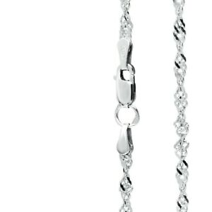 925 Sterling Silver Singapore Necklace Chain 2.4 mm of width in various lengths