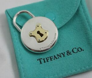 Tiffany & Co. Sterling Silver & 18K Gold Large Round Lock Pendant w/Pouch