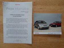 HONDA CIVIC orig 2001 UK Mkt Press Release + Photo - Brochure