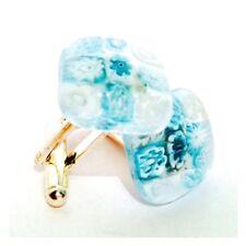 Pale Blue & White Square Murano Glass Millefiori Flower & Silver Cufflinks.