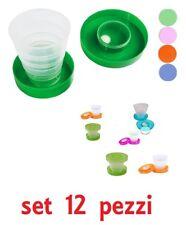 Set 12 Pz Bicchiere Tascabile Richiudibile Porta Compresse Plastica Scuola idea