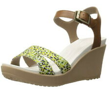 Crocs Women's Shoes Leigh II Ankle Strap Wedge Hazelnut Gold US 7 Sandal