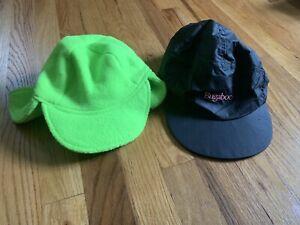 90s columbia bugaboo hat fleece liner elastic ear flaps mens small black / green