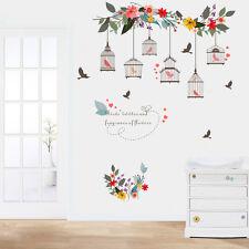 Flower Vine Bird Cage Removable Art DIY Wall Sticker Decal Mural Home Room Decor