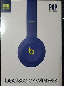 Beats Solo 3 Wireless Headphones POP Indigo Blue/Lime Green MRRF2LL/A NEW SEALED