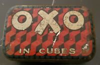 Vintage OXO Cubes Original Design London England Food Additive Tin Box 2.5x1.5