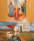 Religious gouache painting icon Saint George and the dragon