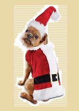 """Petco""""Time for Joy""""SMALL Dog Cat Red White Plush Santa Claus Suit Red Coat,HAT"""