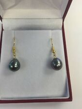 9mm Tahitian Drop Shape  South Sea  Pearls Earrings Hanging From 14k Yellow Gold