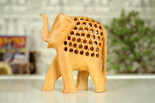 Wooden Elephant Statue With Jali Work Home Decorative Showpiece Animal Figurine